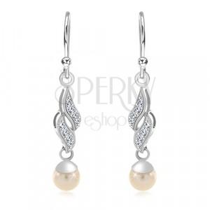Cercei din argint 925, două valuri cu zirconii, perlă albă