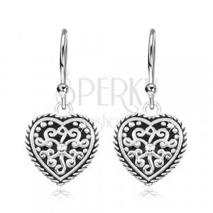 Cercei din argint 925, inimă cu smalț negru și ornamente