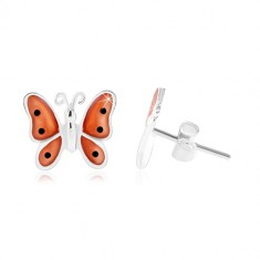 Cercei din argint 925, fluture cu aripi portocalii