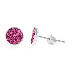 Cercei din argint 925, cercuri strălucitoare cu zirconii roz