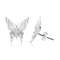 Cercei din argint 925, fluture cu linii gravate pe aripi