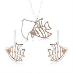 Set din argint 925, contur de pește în culoarea cuprului și argintiu