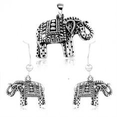 Set din argint 925, cercei și pandantiv - elefant cu gravuri și patină neagră