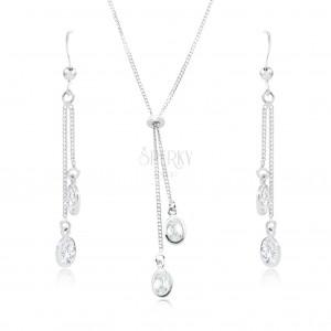 Set din argint 925 - colier și cercei, zirconii ovale transparente