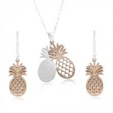Set din argint 925, contur de ananas în culoarea cuprului și argintiu