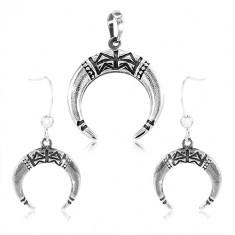 Set din argint 925 - cercei și pandantiv, cerc incomplet decorat cu crestături