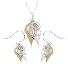 Set din argint 925, scoică dublă argintie și aurie