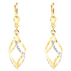 Cercei din aur de 14K - două spirale bicolore decorate cu mici cresțături