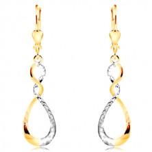 Cercei din aur de 14K - lacrimă bicoloră strălucitoare