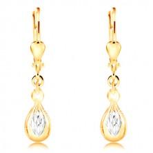 Cercei din aur de 14K - lacrimă strălucitoare, romb din aur alb