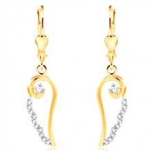 Cercei din aur de 14K - contur de aripă de înger cu zirconii transparente