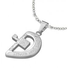 Pandantiv din oțel - jumătate de inimă cu o cruce și inscripții