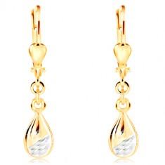 Cercei din aur de 14K - lacrimă strălucitoare cu parte mată din aur alb