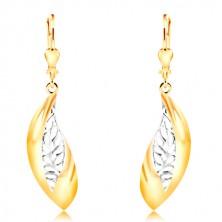 Cercei din aur de 14K - frunze mari curbate, linie din aur alb cu crestături