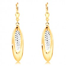 Cercei din aur de 14K - oval decorat cu mici crestături și aur alb
