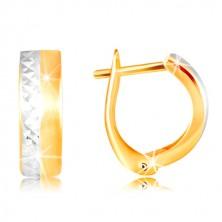 Cercei din aur de 14K - bandă cu suprafața netedă, linie din aur alb