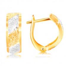 Cercei din aur 585 - bandă din aur alb si galben