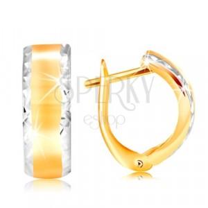 Cercei din aur de 14K - bandă strălucitoare, cu margini din aur alb