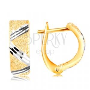 Cercei de aur de 14 K - suprafață aspră, linie zig-zag din aur alb