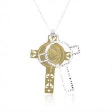 Colier din argint 925, cruce aurie și argintie