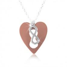Colier din argint 925 – inima culoarea cuprului cu simbolul infinitului