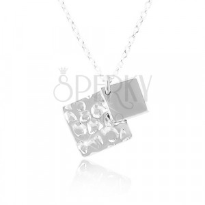 Colier din argint 925, două romburi, lanț cu zale ovale