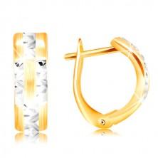Cercei din aur de 14K - bandă cu suprafața mată, linii strălucitoare din aur alb