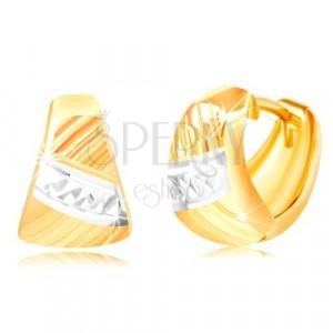 Cercei din aur 585 - triunghi rotunjit, crestături diagonale, linie din aur alb