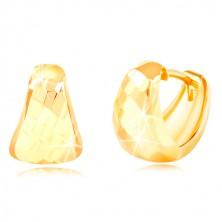 Cercei din aur galben de 14K - triunghi rotunjit cu suprafața opacă