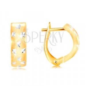 Cercei din aur 585 - arc mat cu mici cruci strălucitoare