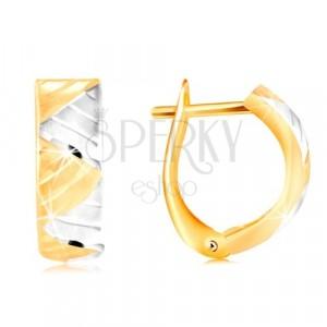 Cercei din aur de 14K - arc, triunghiuri din aur alb și galben