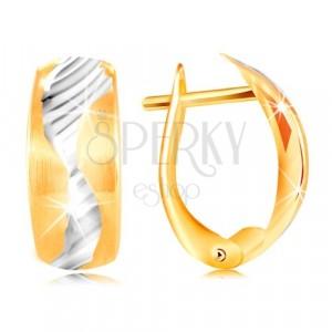 Cercei din aur de 14K - arc mat decoraț cu un val din aur alb