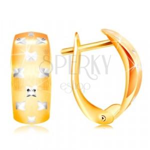 Cercei din aur de 14K - arc mat, mici cruci strălucitoare din aur alb