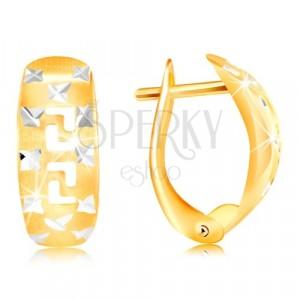 Cercei din aur 585 - arc mat, cruci strălucitoare și cheie grecească