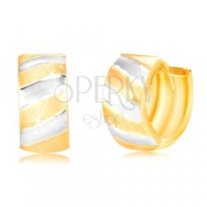 Cercei din aur de 14K – cerc cu suprafața mată și linii bicolore