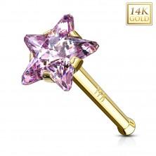 Piercing din aur galben 585 pentru nas - zirconiu roz în formă de stea