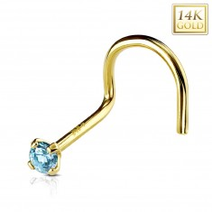 Piercing curbat din aur galben de 14K pentru nas, zirconiu albastru, 2mm