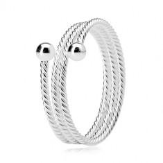 Inel din argint 925, bandătriplă  cu model răsucit, două bile strălucitoare
