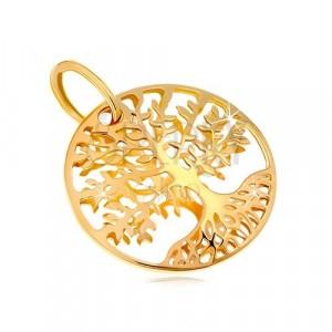 Pandantiv din aur galben 585 - cerc, copacul vieții