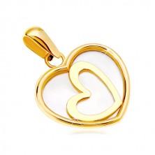 Pandantiv din aur galben de 14k - inimă cu suprafață perlată, contur mic de inimă