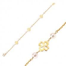 Brățară din aur galben de 14K - perle albe și trifoi cu patru foi