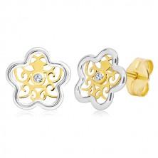 Cercei din aur 585 - floare în două culori cu ornament și zirconiu transparent