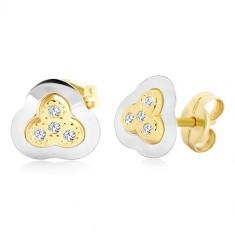 Cercei din aur de 14K - trifoi în două culori cu zirconii