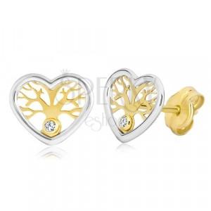 Cercei din aur 585 - inimă în două culori, copacul vieții și zirconiu