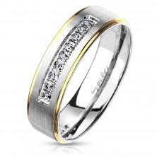 Inel din oțel inoxidabil, nuanță aurie și argintie, zirconii transparente, 6 mm