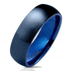 Inel din oțel albastru închis, suprafață mată și rotunjită, 6 mm