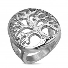 Inel din oțel inoxidabil argintiu, cu Copacul vieții