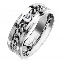 Inel din oțel inoxidabil argintiu cu lanț și zirconiu transparent, 7 mm