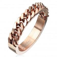 Inel din oțel inoxidabil în culoarea cuprului cu model de lanț, 4 mm