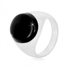 Inel din argint 925 cu smalț negru și brațe strălucitoare